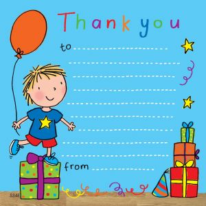 Boys Party Thank You Note